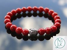 Buddha Red Coral Natural Gemstone Bracelet 7-8'' Elasticated Healing Stone Reiki