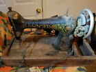 Antique Singer Sewing Machine red eye model 66 1920 with motor  Needs some love
