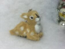 Spotted Deer Lying Down Woodland Christmas Tree Ornament Faux Fur