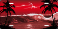 Red Palm Trees Love - Personalized FREE Custom License Plate Frame - Auto Tag