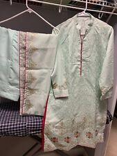 Tourquise Cotton Katan Silk 3 Pcs Shalwar Kameez Suit