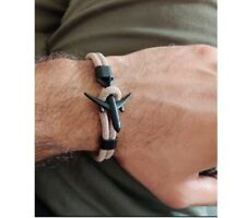 2019 Boeing Anchor Bracelet Pilot Airplane Stainless Steel Leather Rope Aviation