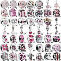 Silver Brilliant 925 Pink charms bead For lot PAN sterling bracelet necklace