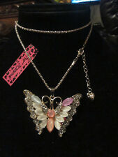 """BETSEY JOHNSON RHINESTONE CRYSTAL BEADS MULTICOLOR BUTTERFLY NECKLACE 27"""" CHAIN"""