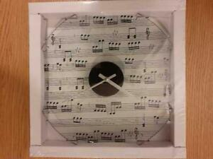 Musical Notes Black Clear Wall Clock glass Home Gifts Decors Music