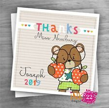 Personalised Thank you Card Thanks Teacher, TA, Nursery School Bear Boy/Girl