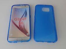 SAMSUNG GALAXY S6 Schutz Hüllen SILIKON CASE Handy Tasche Etui Cover Blau