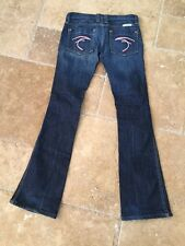 Frankie B Low Rise Dark Denim Pink Embroidered Pockets Flared Boot Cut Jeans 2