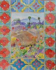 Desert Flowers Spanish Tile Original Watercolor Painting RAMfish Artist