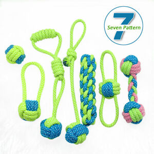 Braided Dog Chew Toy Tough Knot Ball Tug Interactive Pet Puppy Cotton Rope Teeth