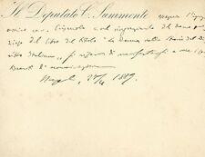 Biglietto da Visita Autografo di Celestino Summonte Sindaco di Napoli 1889