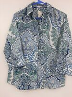 CHICO'S No Iron 3/4 Sleeve Button Front Blouse Shirt Paisley Blues Size 1