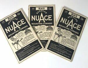 Vintage NuAce Regular Photo Mounting Corners Black 2 pkgs 1920s  USA Made    PC1