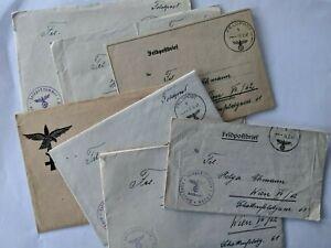 Feldpostbriefe kleines Konvolut  ungewöhnliche Vignette Adler  2. WK