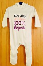 Personalised Name Hooded Baby Grow/Sleepsuit,Outfit 50% Daddy 50% Mummy Gift