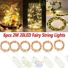2m Warm White Battery Powered Copper Wire String Fairy Xmas Party Lights 6pcs