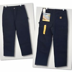 Carhartt Carpenter Pants Washed Duck Work Dungaree Men's Size 33 x 32 Blue New!