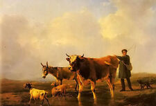 Beautiful Oil painting crossing the marsh cattleman & dog cows sheep by stream