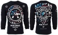 AMERICAN FIGHTER Mens LONG SLEEVE T-Shirt SILVER LAKE PATRIOT Black USA FLAG $54