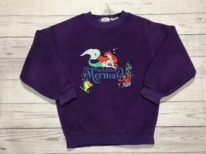 Vintage The Little Mermaid Sweater Girls Medium Walt Disney 90s Purple Kids Vtg