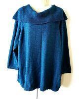 WOMEN'S CATHERINES BLUE LONG SLEEVE COWL NECK 100% COTTON SWEATER SIZE 2X