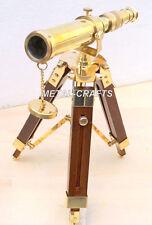 Antique Brass Telescope Wood Tripod Handmade Marine Vtg Navy Brass Telescope MC