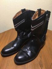 SOLITARIO MEXICO COWBOY BOOTS SZ 31 Or 12 US. Black Leather