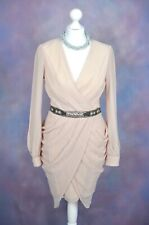 RIVER ISLAND Nude pink beaded belt grecian pencil dress 12