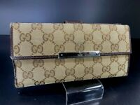 AUTH GUCCI Horse Bit GG Logo Pattern Canvas Leather long Wallet Italy Y-1048