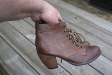 Ankle Boots Block Heels Brown Leather Size UK 6