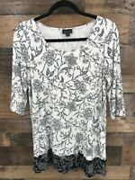 J. Jill Wearever Collection Women's Black & White Floral Print Tunic Top Size S