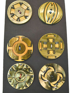 SIX ANTIQUE CELLULOID FANCY CARVED MARBLEIZED LARGE BUTTONS-VARIETY OF WOW!