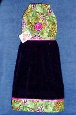 **NEW** Vineyard Grapes Black Hanging Kitchen Fridge Hand Towel #1105