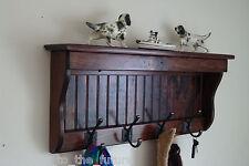 "30"" Handcrafted Wooden wall mount Coat Rack, Shelf, Key Hook, Red Mahogany"
