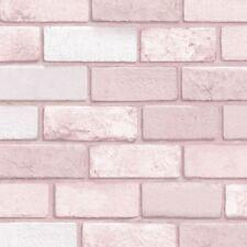 Diamante Papel Pintado Ladrillo Rosa - Arthouse 260005 con purpurina