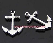 P755 10pcs Retro Tibetan Silver anchor Charm Beads Pendant accessories wholesale