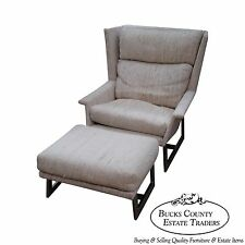 Mid Century Modern Wing Lounge Chair w/ Ottoman (In The Manner of Milo Baughman)