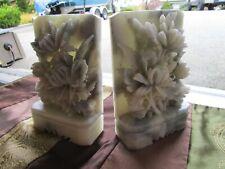 Antique Jade Ornate Carved Bookends