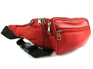 Soft Premium Genuine Leather Red Zipped Bum Bag Money Travel Waist Belt Wallet