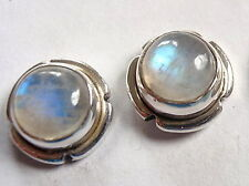 Moonstone with Grooved Accents 925 Sterling Silver Round Stud Earrings