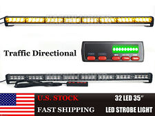 32 LED Amber Traffic Strobe Light Bar Directional Flasher Emergency Vehicles 35""