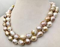"""Hot Long 36 """"12-15mm Barock Multicolor Südchinesisches Meer Perlenkette AAA"""
