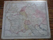 CARTE TOILEE PARTIE CENTRALE EUROPE D' APRES METHODE DES JEUX L. GAULTIER 1807