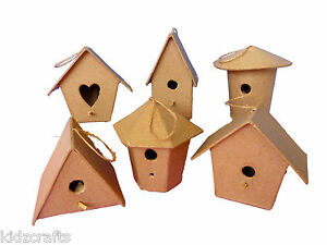 Mini Bird Houses (8x7x6cm) Paper Mache Assorted Shapes Kids Craft Pack of 6