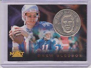 1996 PINNACLE MINT DREW BLEDSOE SILVER COIN & CARD #13