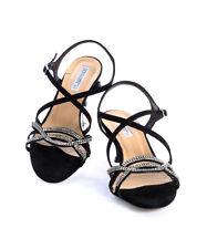 Donna Piu 50463 Black Suede Swarovski Crystals Strappy Sandals 35 / US 5
