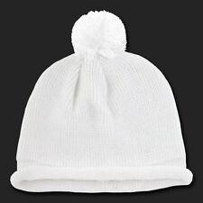 White Solid Roll Up Beanie Pom Pom Warm Winter Ski Hat Cap Skull Knit Beanies