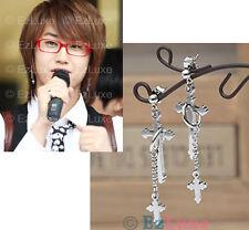 K-POP Tohoshinki DBSK SS501 Medieval Double Cross Earrings 2 two layers crosses