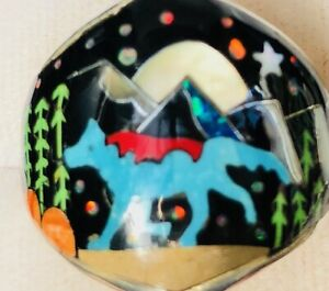 Old Opal Turquoise Wolf Coyote Mountain Scape ring Pictorial Ring Men's 9.5  T