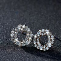 18k yellow gold made with SWAROVSKI crystal round flower garland stud earrings